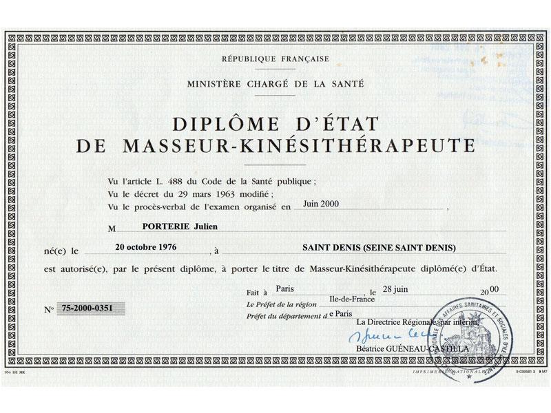 Diplome-Masseur-kinesitherapeute-julien-porterie